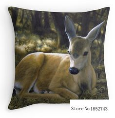 A Quiet Place - Mule Deer Painting - by Crista Forest (two sides) Pillow Cases for 12 ''14''16''18'' 20''24'' inch free shipping(China (Mainland))