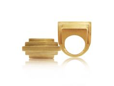 Architectural shapes from Corrado Giuspino - #gold #sculpture #ring. www.kristoffjewelers.com