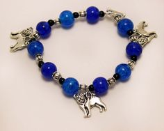 Blue Bead Stretch Bracelet with Pug Dog Charms by ThisPugLife, $10.00