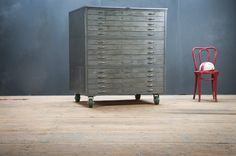 """""""Vintage 6820 Industrial Architects Flat File : Factory 20"""" Yes please, the chair too please. S"""