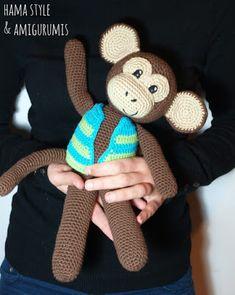 Mono con chaleco - Amigurumi [PATRÓN GRATIS] Amigurumi Tutorial, Crochet Amigurumi Free Patterns, Crochet Dolls, Valentine Baskets, Pdf Patterns, Crochet Animals, Pet Toys, Handicraft, Baby Knitting
