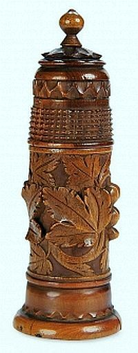 Early 19th Century German Carved Wooden Thimble and Bobbin Holder.