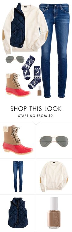 """""""from sally @thegingerprep!!"""" by classically-preppy ❤ liked on Polyvore featuring J.Crew, AG Adriano Goldschmied, Essie and H&M"""