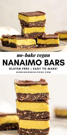 These homemade no-bake vegan Nanaimo bars are surprisingly easy to make with just a handful of ingredients. These amazing sweet treats are rich, decadent and taste just like the classic Christmas dessert! Nanaimo Bars, Vegan Christmas Desserts, Vegan Desserts, Vegan Treats, Vegan Food, Healthy Food, Christmas Recipes, Instant Pudding, Irish Cream