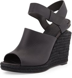 Alexander Wang Tori Leather Espadrille Wedge, Black