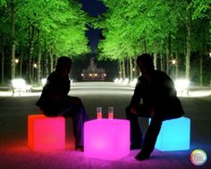 set the mood with these trendy outdoor light up cubes the perfect accessory for a modern backyard or patio these rechargeable led cubes are waterproof best mood lighting