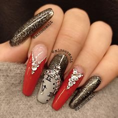 HAPPY new year! #acrylicnails #swarovskynails #rednails #glitter #clocknails #longnails Red Nails, Long Nails, Acrylic Nails, Glitter, 3d, Instagram, Happy, Beauty, New Years Eve