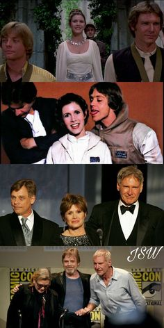 Star Wars Cast Mark Hamail Carrie Fisher and Harrison Ford