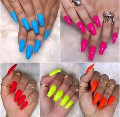 Are you looking for fall acrylic nail colors design for this autumn? See our collection full of cute fall acrylic nail colors design ideas and get inspired! Short Nail Designs, Colorful Nail Designs, Neon Nails, My Nails, Neon Nail Colors, Neon Orange Nails, Back To School Nails, Bright Summer Nails, Summer Colors