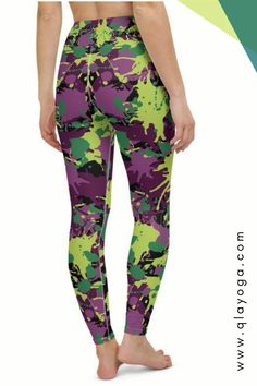 These beautiful leggings are for women who love army style Cute Leggings, Printed Leggings, Women's Leggings, Camouflage Leggings, Army Camouflage, Purple Camo, Green And Purple, Festival Wear, Festival Outfits