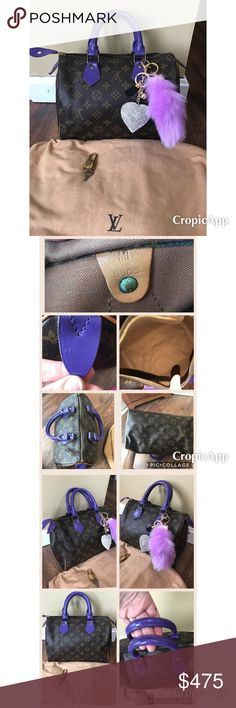 Authentic Louis Vuitton Speedy 25💜 Very good condition speedy 25💜 prior to painting this speedy was in good shape .. no peeling on leather.. minor water marks... painted with high quality leather paint.. this speedy didn't need to be painted but I just love the color purple💜 clean inside!, monogram lv logo is in great condition very vibrant, pipping is good with tiny bit of rubbing shown in pictures.. comes with dust bag, lock and key & keychain as well 💜 will take less on 🅿️🅿️ & open…