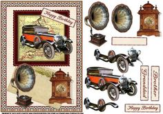 - a decoupage sheet for the men with a vintage theme, has a vintage car and vintage gramophone and clock, matching tags say h. Vintage Theme, Vintage Birthday, 3d Sheets, Baby Shower Vintage, 3d Cards, Decoupage Paper, Card Maker, Paper Toys, Digital Stamps
