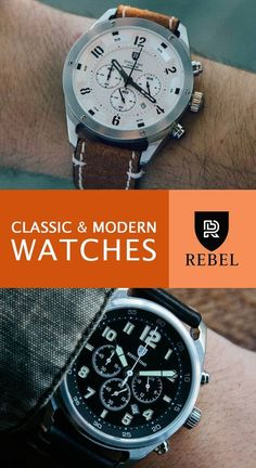 SHOP MODERN MENS WATCHES by Rebel Time Watches. The line features classic and modern mens pilot fashion watches like these in black and silver. Find holiday, Christmas and anniversary gifts for him...