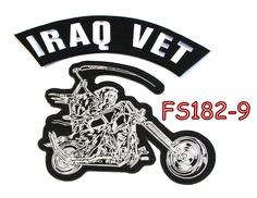 Iraq vet Grim Reaper writing motorcycle Iron on Patch for Biker Vest FS182-9