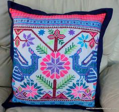 Beautiful old style Hmong embroidery peacock birds in blue, teal, green, pink and lavender. re-purposed Hmong blanket   Handmade  #Eclectic #decor #Hmong #pillows