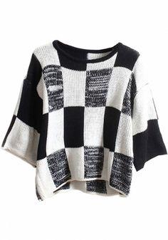 Black-White Plaid Print Loose Pullover