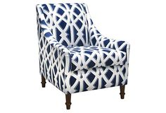 Holmes Armchair, Navy on OneKingsLane.com  As described by Metropolis Modern Dish with hunting dog in relief. Made in USA, circa 1960. Includes two hanging hooks on reverse.