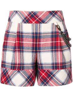 - women - Acetate/Polyamide/Other fibres/Virgin Wool - 40 - Blue Tartan Pattern, Boutique Moschino, Patterned Shorts, Plaid Scarf, Wool Blend, Casual Shorts, Shopping, Tops, Blue