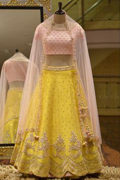 A Yellow Raw Silk Zardosi Embroidered Bridesmaid Lehenga Indian Lehenga, Raw Silk Lehenga, Red Lehenga, Yellow Lehenga, Indian Wedding Outfits, Bridal Outfits, Indian Outfits, Wedding Attire, Lehenga Choli Designs