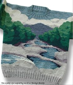 pull tricot jacquard Another incredible landscape available free in pdf form Intarsia Knitting, Baby Knitting, Knitting Projects, Knitting Patterns, Pull Jacquard, Knitwear Fashion, Pulls, Lana, Knit Crochet