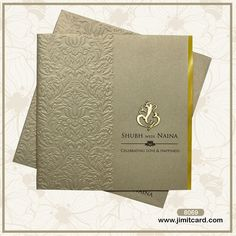 A Grey Wedding Card looks is something to look out for. The front of the invitat. A Grey Wedding Card looks is something to look out for. The front of the invitation envelope has a Embossed Floral desig. Marriage Invitation Card, Indian Wedding Invitations, Wedding Invitation Envelopes, Floral Invitation, Invitation Ideas, Wedding Card Design Indian, Hindu Wedding Cards, Card Wedding, Trendy Wedding