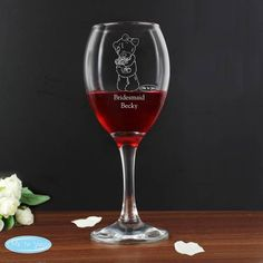 Personalised 'Tatty Teddy' Me To You Wedding Wine Glass - Female Role