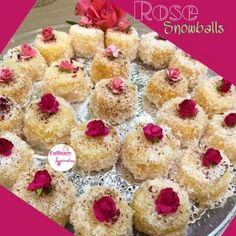 Rose Snowballs recipe by Fatima A Latif posted on 14 Jun 2018 . Recipe has a rating of by 3 members and the recipe belongs in the Cakes recipes category Eid Biscuit Recipes, Apple Cake Recipes, South African Desserts, Indian Desserts, Indian Foods, Indian Sweets, New Dessert Recipe, Dessert Recipes, Mini Desserts