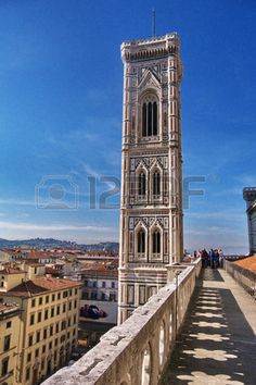 Giotto s bell tower view from the terraces of the cathedral, Florence, Italy