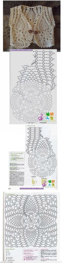 """[ """"cute crochet vest - guess that it is for a child, do not know the size - with chart - poland crochet women"""", """"Love these motifs."""", """"Not sure @ size of this."""", """"This would be great over a strapless or skinny strap dress or top. Cardigan Au Crochet, Gilet Crochet, Crochet Motifs, Crochet Jacket, Crochet Diagram, Crochet Chart, Crochet Cardigan, Crochet Stitches, Crochet Shrugs"""