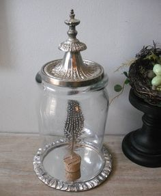 Large upcycled Dome cloche with mirror pedestal ... Silver finial ... repurposed display