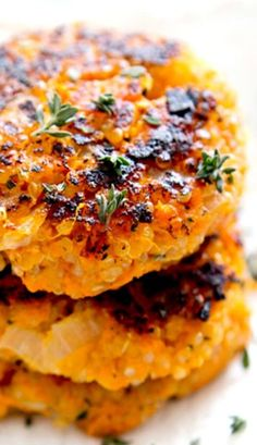 Sweet Potato Quinoa Patties Very good! Doesn't firm up like a burger or latkes. Top with poached or fried egg. Veggie Recipes, Baby Food Recipes, Whole Food Recipes, Vegetarian Recipes, Cooking Recipes, Healthy Recipes, Baked Quinoa Recipes, Cooking Pork, Carrot Recipes