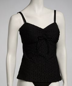 Take a look at this Black Eyelet Tunnel-Front Tankini Top by Jantzen on #zulily today! $34.99, regular 82.00.  Sale ends in 1 days, 16 hours; or, in other words on Saturday, June  8th in the afternoon. So if you're interested, get on it! :)