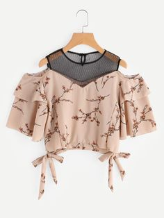 SheIn offers Open Shoulder Ditsy Print Contrast Mesh Tie Hem Top & more to fit your fashionable needs. Girls Fashion Clothes, Teen Fashion Outfits, Look Fashion, Girl Fashion, Fashion Dresses, Cute Comfy Outfits, Pretty Outfits, Stylish Outfits, Cool Outfits