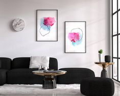 Home Interior Salas Modern colorful abstract watercolors and art by AdriLunaStudio.Home Interior Salas Modern colorful abstract watercolors and art by AdriLunaStudio Decor Interior Design, Interior Decorating, Mode Poster, Abstract Wall Art, Abstract Paintings, Black Abstract, Modern Wall, Modern Living, Modern Decor