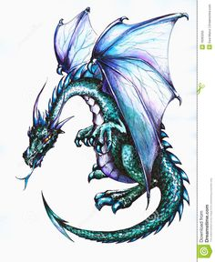 free dragon Silhouette Decoration | Blue dragon.Picture I have created with pen and watercolors.
