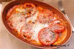 Tian de verduras: Berenjena, calabacin, cebolla, tomate y mozzarella en el horno