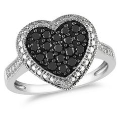 Miadora 0.50 Carat Total Weight Black Diamond and Diamond Illusion Heart Ring in Sterling Silver | Walmart.ca  $149