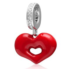 925 Solid Sterling Silver Dangling Red Heart with Crystal CZ Charm Bead -- Awesome products selected by Anna Churchill