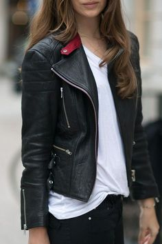 Looking for a leather jacket and liked the pop if red on the collar...
