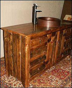 Photo of Side View - Rustic Bathroom Vanity: Rustic Log Cabin Style Bathroom Vanity with Copper Sink