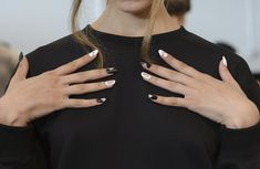 The nude accents on this black and white nail art (and random matte nails!) make this look from the Kye Spring 2015 show a standout. // 51 Spring Nail Art Ideas to Rock Off the Runway