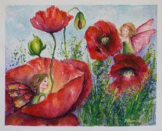 Flower Fairies Art birthday gift Poppies painted by PDisanska