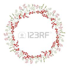 Detailed contour wreath with herbs red berries and wild stylized flowers isolated on white Round fra Stock Vector Round Frame, Red Berries, Contour, Vector Art, Your Design, Greeting Cards, Clip Art, Herbs, Wreaths