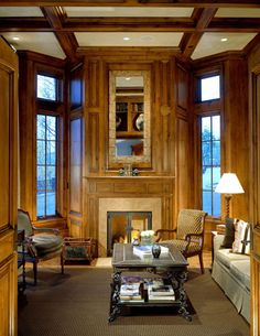 i like how the fireplace projects into this niche and still has the windows angled on the sides  Brewster McLeod Architects, Inc.