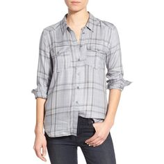 Paige Denim 'Mya' Plaid Shirt ($118) ❤ liked on Polyvore featuring tops, relax shirt, tartan shirt, plaid shirt, panel shirt and button front tops