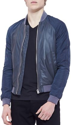 Men's Designer Coats & Jackets at Neiman Marcus Napa Leather, Burberry Brit, Collar And Cuff, Neiman Marcus, Bomber Jacket, Man Shop, Sleeves, Jackets, Men