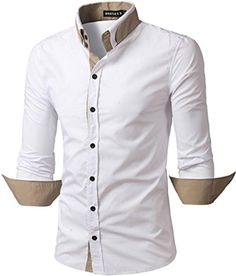 What Lees Mens Formal Solid Long Sleeve Button Down Dress Shirts B100-White-S - Brought to you by Avarsha.com