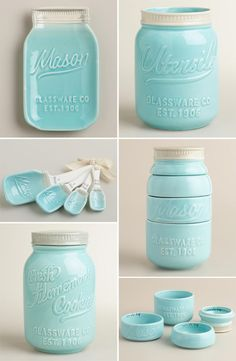 LOVE these ceramic mason jar kitchen accessories! I already have the measuring cups :):