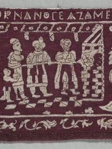 Embroidered Border: The Making of Unleavened Bread and the Isrealites Sent Away    Italy, 16th-17th century    Date: 1500s-1600s    Medium: embroidery; silk on linen    Dimensions: Overall - h:18.10 w:45.40 cm (h:7 1/8 w:17 13/16 inches)    Department: Textiles    Type of art work: Embroidery