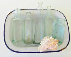 Vintage Handblown Sea Glass Blue Bottles Set by RosebudsOriginals